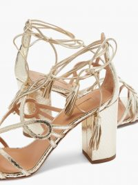 AQUAZZURA Gitana 85 metallic python-effect leather sandals ~ luxe ankle tie shoes