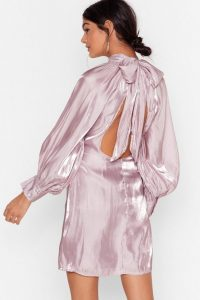 NASTY GAL Glass Half Full Tie Back Mini Dress in Lilac