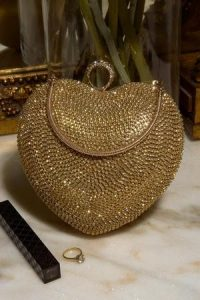 Sia & Stars Gold Starla Pouch – glamorous evening bags – sparkly going out accessories