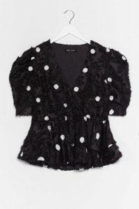 Got a Flock to Say Polka Dot Blouse / black puff sleeve blouses