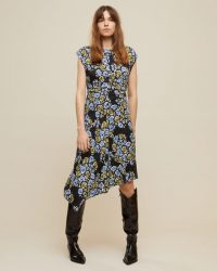 JIGSAW GRAPHIC POPPY RUCHED DRESS BLACK ~ asymmetric hemline dresses