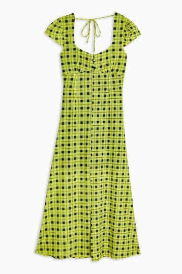 TOPSHOP Green Check Mesh Midi Dress