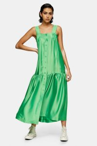 Green Drop Hem Pinafore Dress By Topshop Boutique