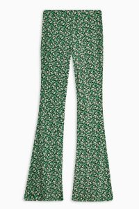 TOPSHOP Green Floral Print Flare Trousers – retro pants