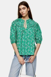 TOPSHOP Green Floral Puff Sleeve Blouse