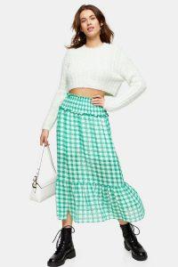 TOPSHOP Green Gingham Spot Tiered Skirt / frill hem skirts
