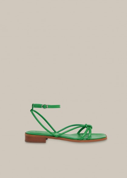 WHISTLES ROYA FLAT STRAPPY SANDAL GREEN / ankle strap flats