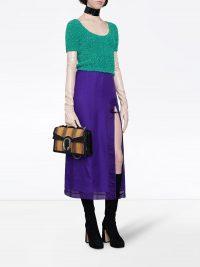GUCCI open front skirt in purple silk