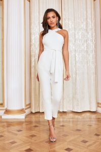 Lavish Alice halter neck tailored jumpsuit in white