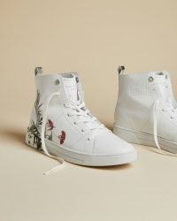 Ted Baker ZEREL Highland leather hi-top trainers white ~ feminine high tops