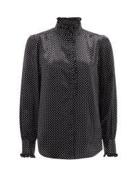 MARC JACOBS RUNWAY High-neck ruffled polka-dot silk-satin blouse ~ black and white spot blouses