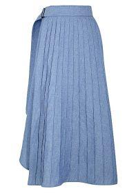 HYKE Blue pleated chambray skirt