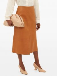 JOSEPH Idena tan leather midi skirt