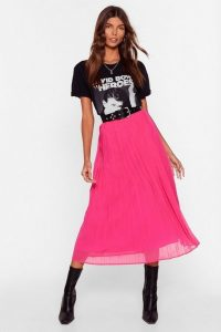 NASTY GAL In the Drivers Pleat High-Waisted Midi Skirt Hot Pink