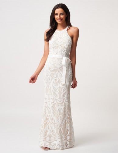 FOREVER UNIQUE Ivory Embellished Racer Maxi Dress ~ applique mesh detail dresses