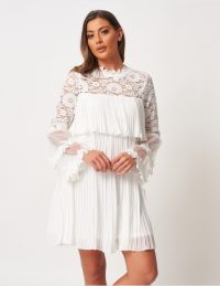 FOREVER UNIQUE Ivory Tiered Lace And Pleated Mini Dress ~ semi sheer summer dresses