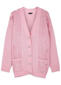 IZAAK AZANEI Pink sequin-embellished merino wool cardigan