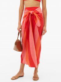 MARA HOFFMAN Izzi striped linen sarong ~ red, pink & orange sarongs