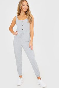 JAC JOSSA GREY RIB SQUARE NECK JUMPSUIT