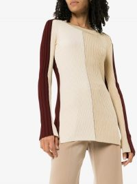 Joseph Panelled Ribbed Knit Sweater | colourblock jumpers