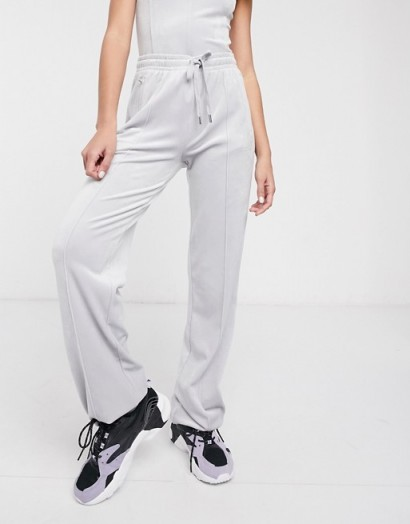 Juicy Couture diamante velour track pants in quiet grey