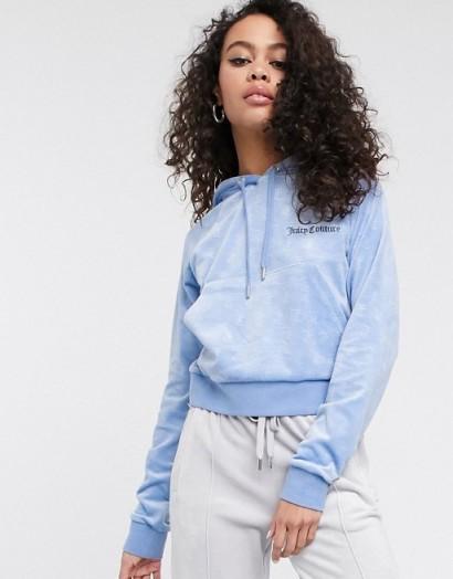Juicy Couture embossed velour hoodie in Delia blue