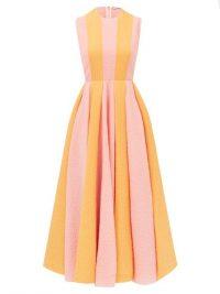 EMILIA WICKSTEAD Junie orange and pink striped cotton-blend seersucker dress