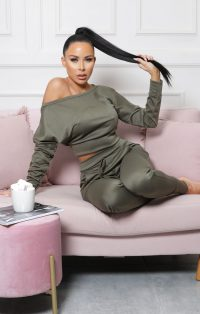 FEMME LUXE Khaki Off Shoulder Loungewear Set – Blake