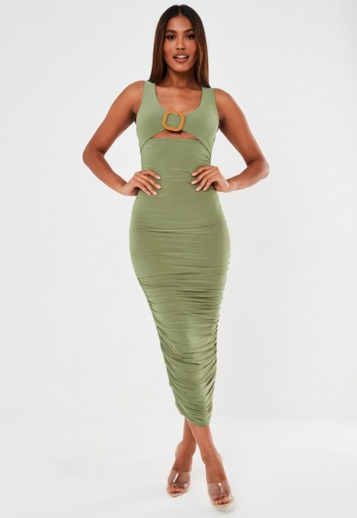 Missguided khaki slinky buckle ruched midaxi dress | green bodycon