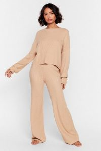 Nasty Gal Knit Alone Sweater and Wide-Leg Lounge Set Oatmeal