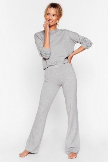 Nasty Gal Knits Time for Change Sweater and Pants Lounge Set Grey