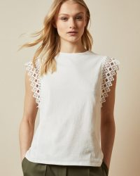 TED BAKER ULAYNA Lace detail sleeveless top ivory
