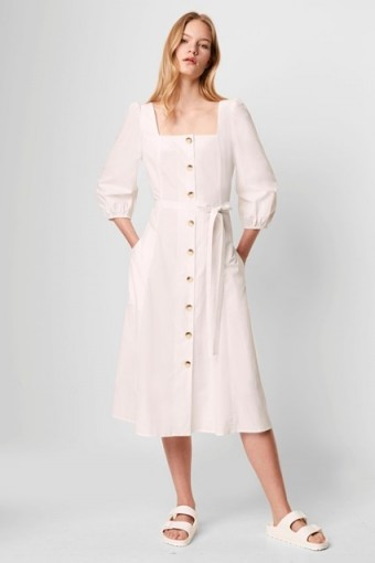 FRENCH CONNECTION LAVANNA POPLIN SQUARE NECK DRESS SUMMER WHITE / warm weather day dresses