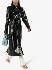 Lemaire Black Patent Linen Trench Coat | glossy coats