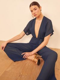 Reformation Lemongrass Jumpsuit Navy | warm summer evening jumpsuits