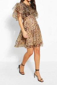 BOOHOO Leopard Organza Ruffle Skater Dress – floaty going out dresses