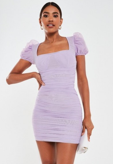 Missguided lilac mesh puff sleeve ruched mini dress | square neck dresses - flipped