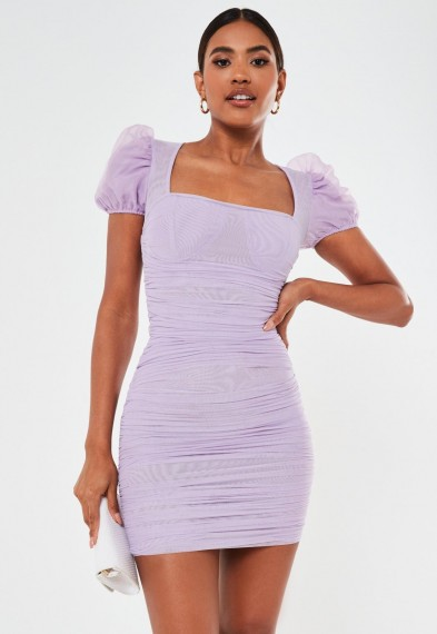 Missguided lilac mesh puff sleeve ruched mini dress | square neck dresses