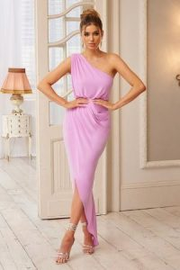 Club L London Lilac Ruched Wrap Front One Shoulder Midi Dress – glamorous evening wear