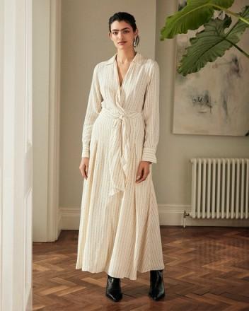 JIGSAW LINEAR DASH TIE WAIST MAXI DRESS IVORY ~ neutral tie waist dresses