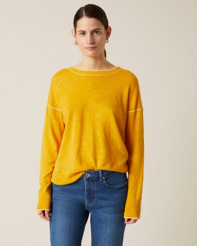 JIGSAW LINEN COTTON SLOUCHY JUMPER SUNFLOWER ~ yellow relaxed fit jumpers for spring