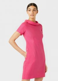 Hobbs LINEN PETRA DRESS Pink | vintage look dresses