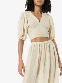 LISA MARIE FERNANDEZ puff-sleeve wrap blouse – summer crop top