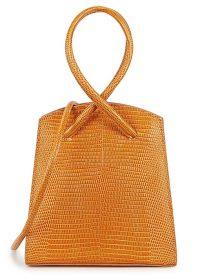 LITTLE LIFFNER Twisted Wristlet lizard-effect top handle bag in orange leather