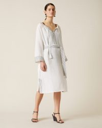 JIGSAW LIYA BELTED MIDI DRESS WHITE ~ loose fit summer dresses ~ effortless style clothing