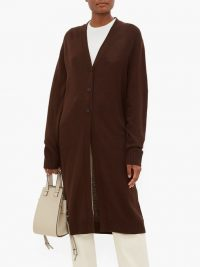 JIL SANDER Longline wool cardigan in brown