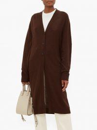 JIL SANDER Longline wool cardigan in brown