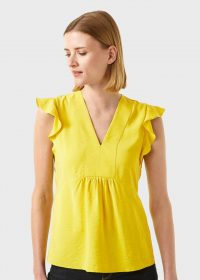 HOBBS LOREN TOP YELLOW / frill trimmed tops