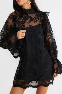 LORNA LUXE BLACK 'EMANUEL' ORNATE LACE FRILL MINI DRESS