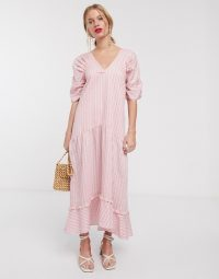 Lost Ink maxi smock dress with tiered skirt in pink stripe